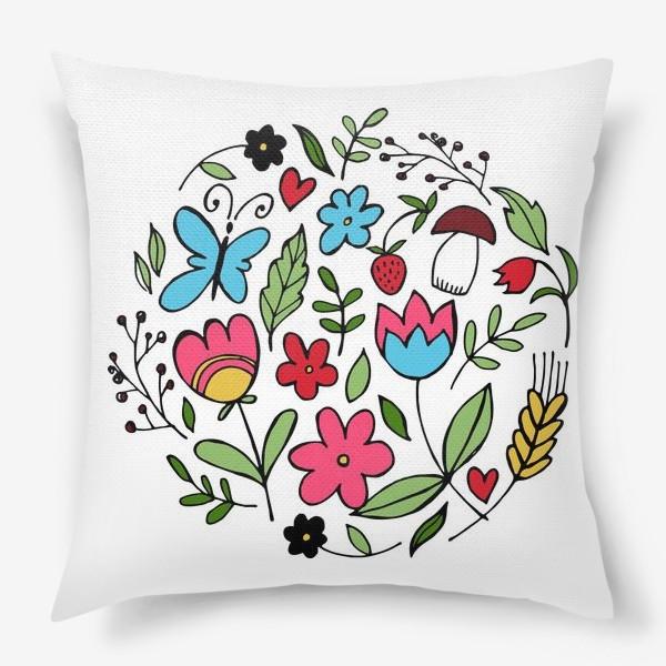 Подушка «Паттерн с растительным мотивом»