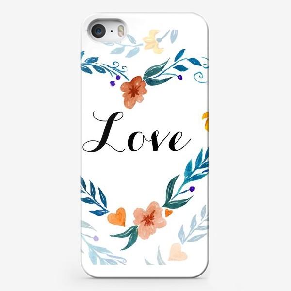 Чехол iPhone «Рамка в форме сердца из цветов и веток. Любовь.»
