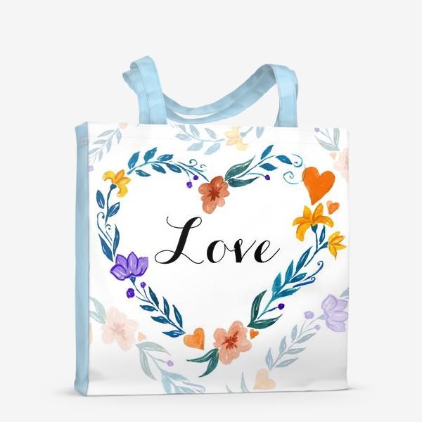 Сумка-шоппер «Рамка в форме сердца из цветов и веток. Любовь.»