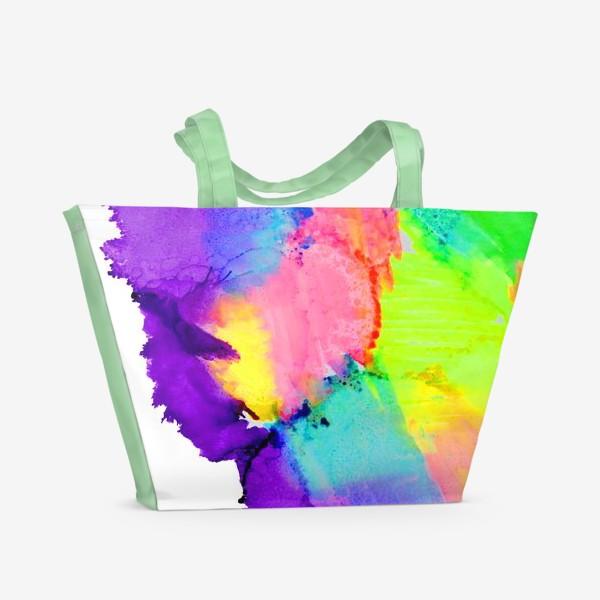 Пляжная сумка «Watercolor Neon Abstract»