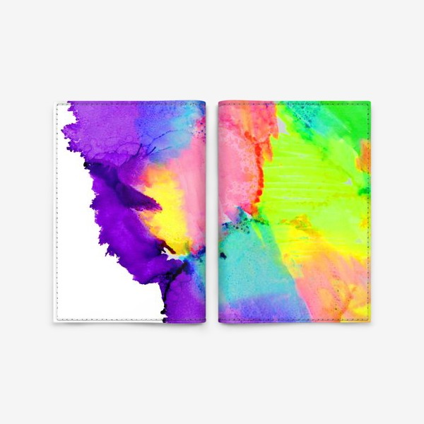 Обложка для паспорта «Watercolor Neon Abstract»