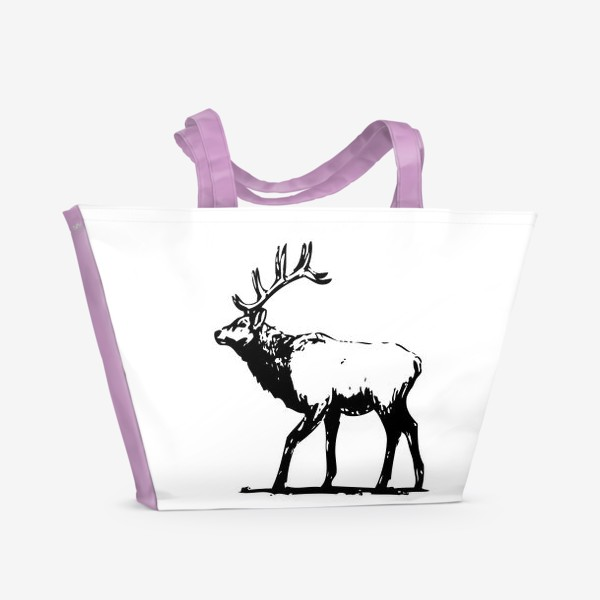 Пляжная сумка «Паттерн олень. Силуэт»