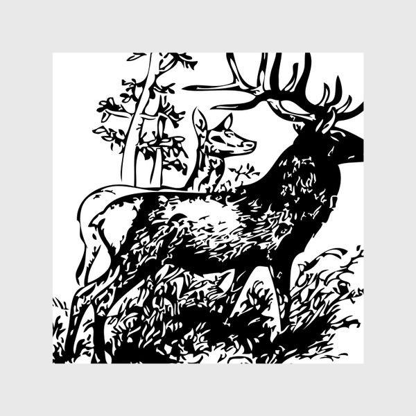 Шторы «Паттерн с оленями в лесу»