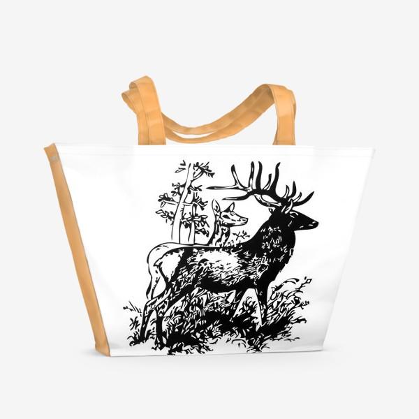 Пляжная сумка «Паттерн с оленями в лесу»