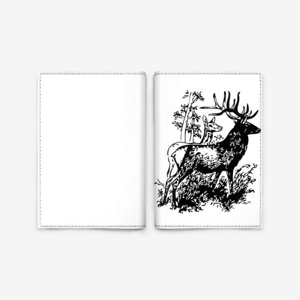 Обложка для паспорта «Паттерн с оленями в лесу»