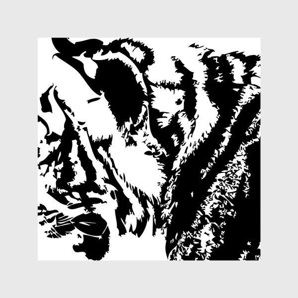 Шторы «Принт тигр в стиле графика»