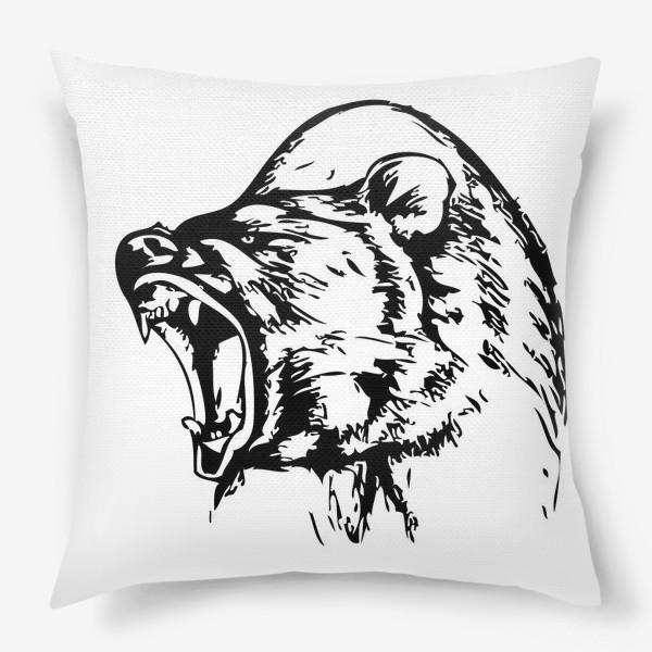 Подушка «Паттерн Медведь в ярости»