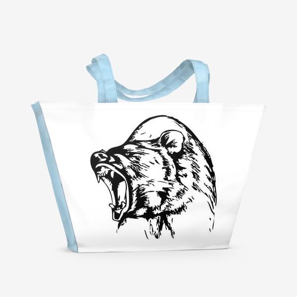 Пляжная сумка «Паттерн Медведь в ярости»