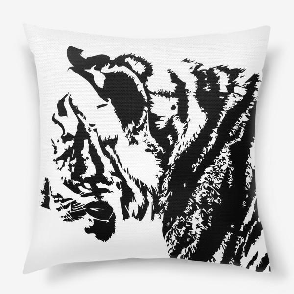 Подушка «Принт тигр в стиле графика»