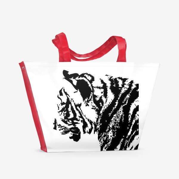 Пляжная сумка «Принт тигр в стиле графика»