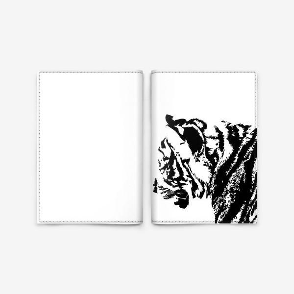 Обложка для паспорта «Принт тигр в стиле графика»