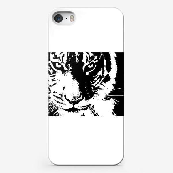 Чехол iPhone «Принт белый тигр в стиле графика»