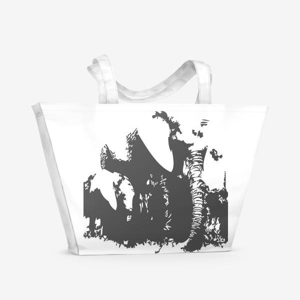 Пляжная сумка «Принт слониха с детенышем»