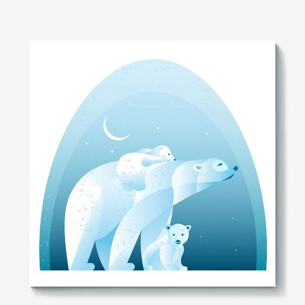 Холст «Белые медведи»