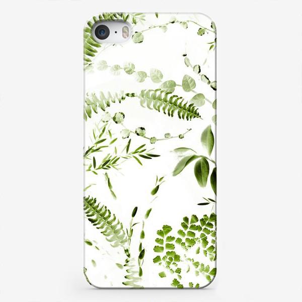 Чехол iPhone «Зеленый растительный микс. Папоротники»