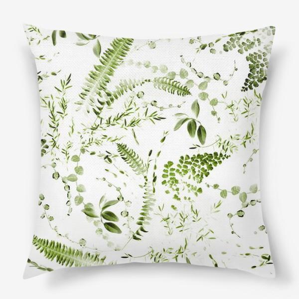 Подушка «Зеленый растительный микс. Папоротники»
