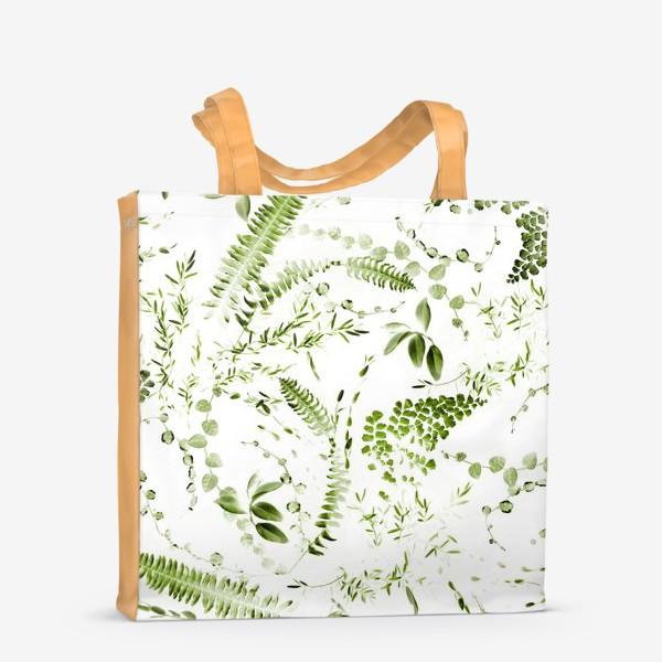 Сумка-шоппер «Зеленый растительный микс. Папоротники»