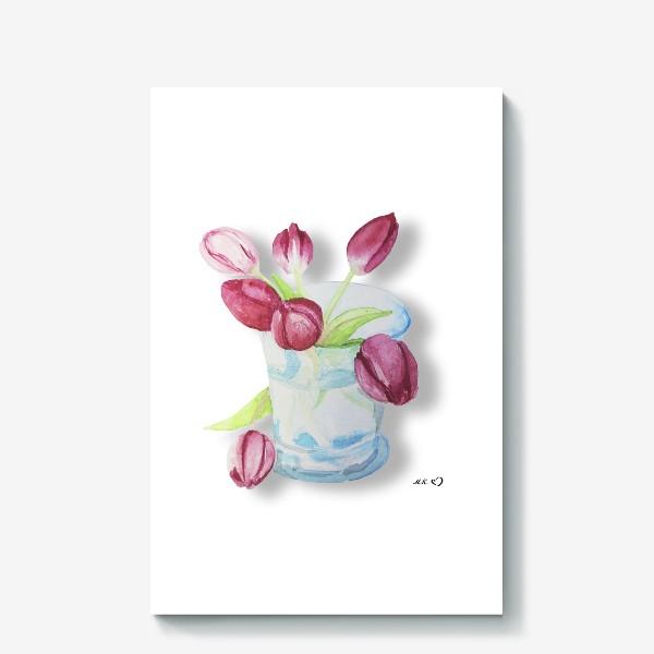 Холст «Тюльпаны в стакане Tulips»