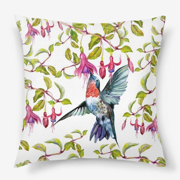 Подушка «Птица колибри и фуксия\Birds»
