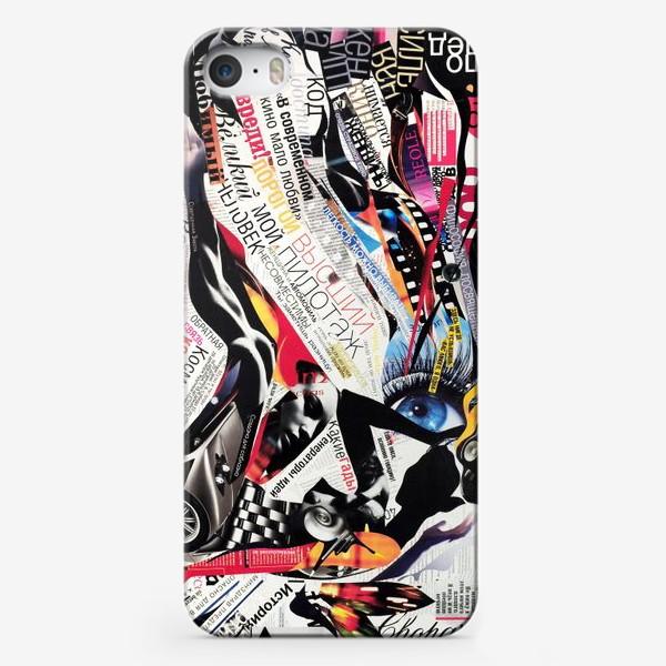 Чехол iPhone «Коллаж с девушкой, газетные заголовки, вырезки из журналов»