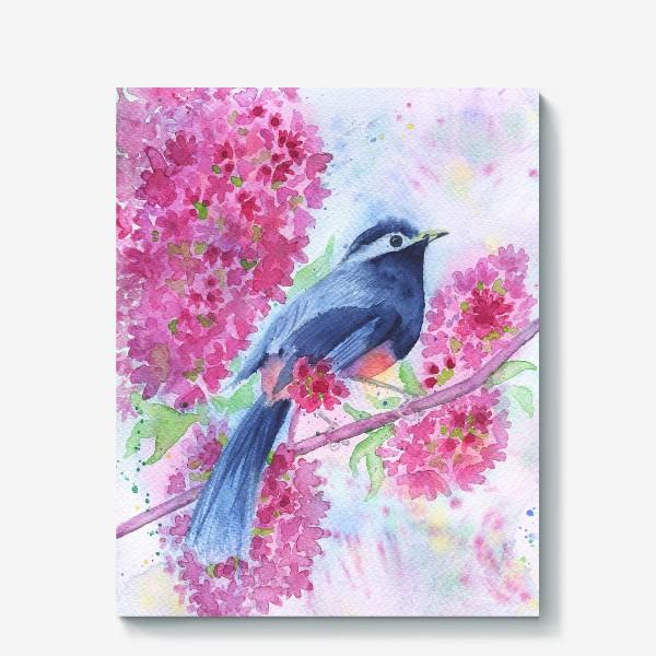 Холст «Птица на цветущей ветке»