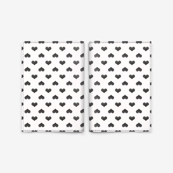 Обложка для паспорта «Паттерн с черными сердцами Black Collection»