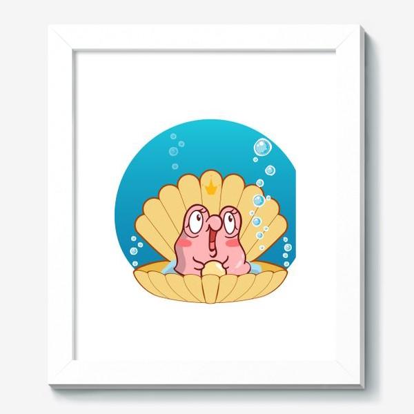 Картина «Кавайная ракушка с розовой улиткой. Мультяшный стиль»