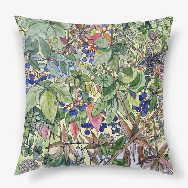 Подушка «Тропическая листва. Орнамент»