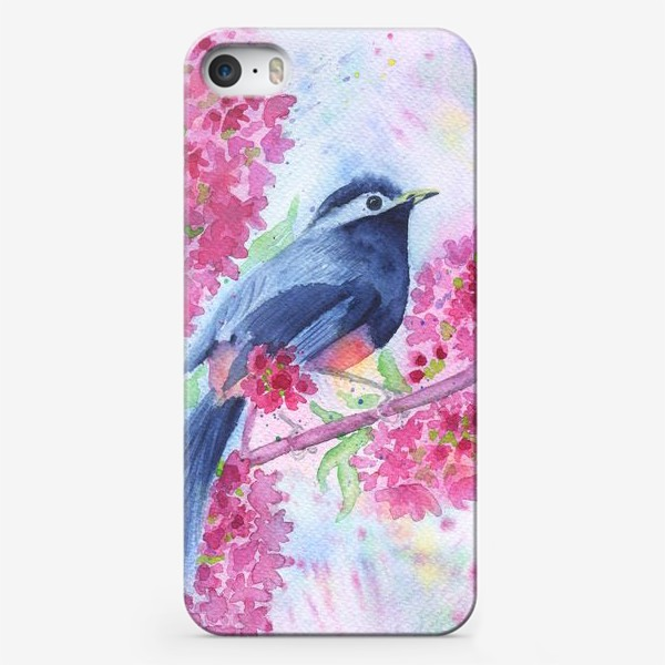 Чехол iPhone «Птица на цветущей ветке»