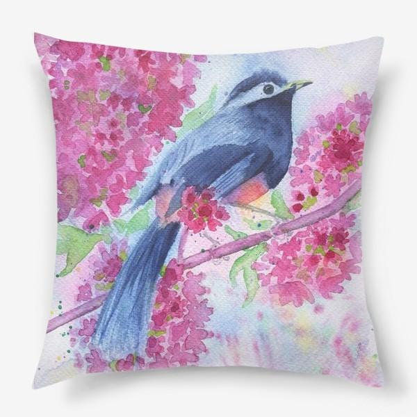 Подушка «Птица на цветущей ветке»