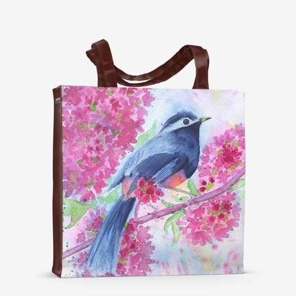 Сумка-шоппер «Птица на цветущей ветке»