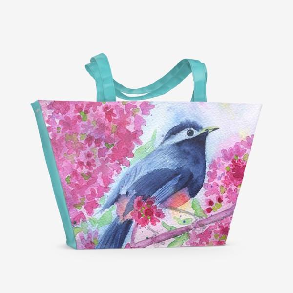Пляжная сумка «Птица на цветущей ветке»
