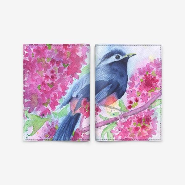 Обложка для паспорта «Птица на цветущей ветке»
