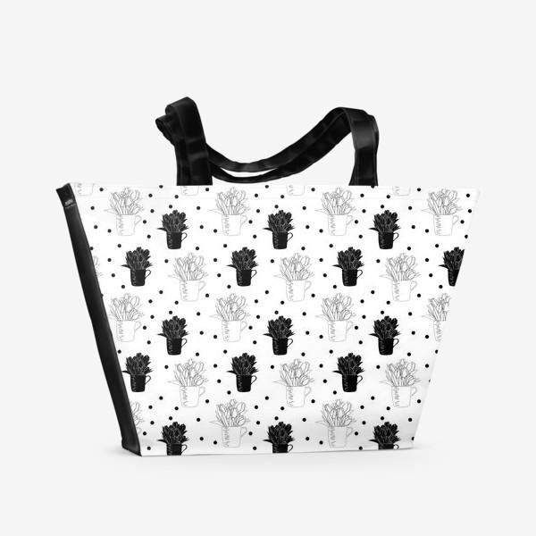 Пляжная сумка «Букет тюльпанов паттерн»