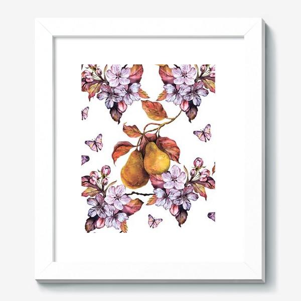 Картина «Груша и бабочки\Pear and butterflies\Boho style\Бохо»