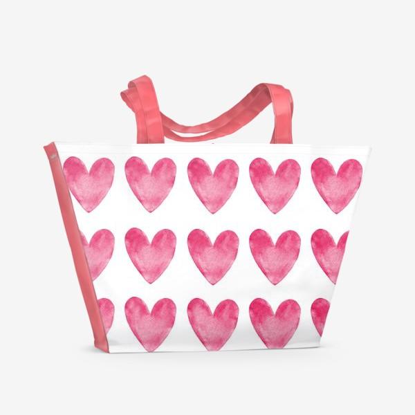 Пляжная сумка «Акварельные сердца»