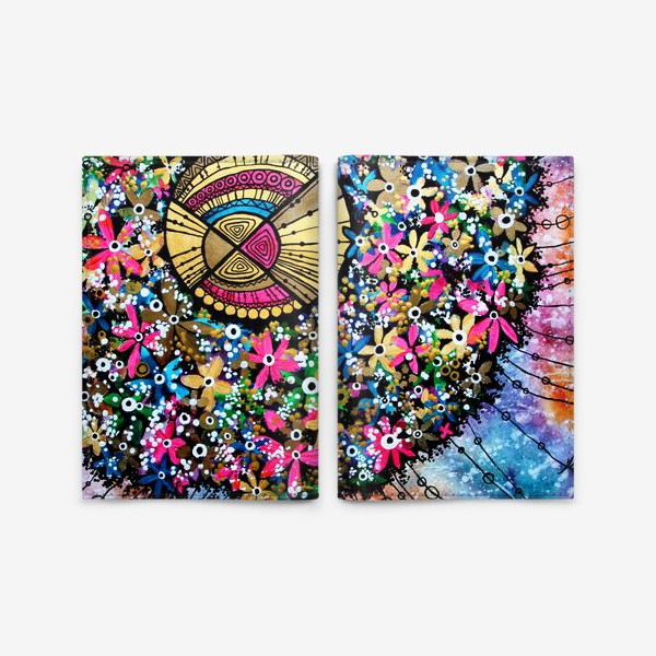 Обложка для паспорта «Солнце и цветы»