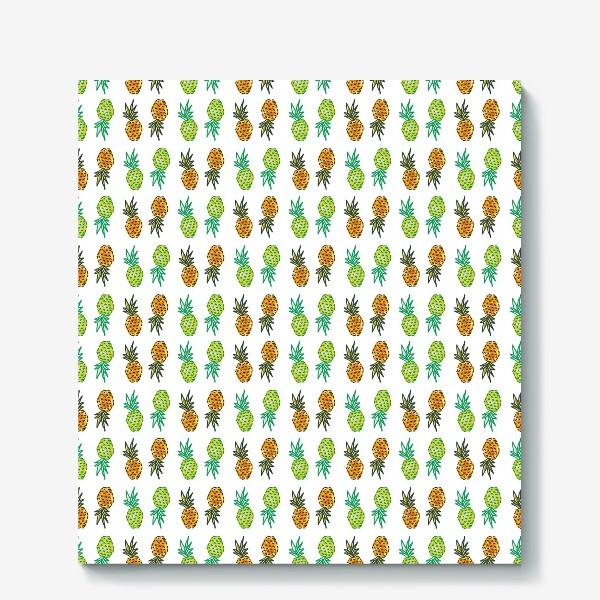 Холст «Паттерн Ананасы | Pineapples pattern»