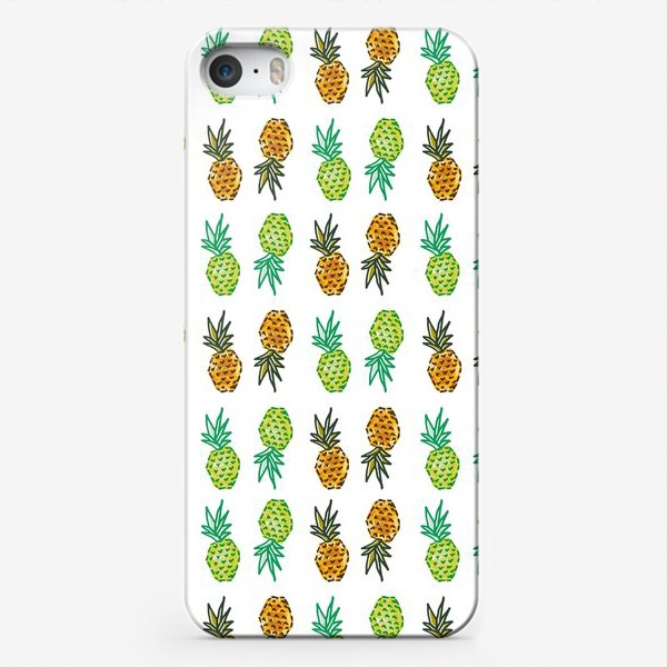 Чехол iPhone «Паттерн Ананасы | Pineapples pattern»
