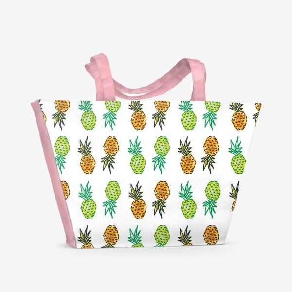 Пляжная сумка «Паттерн Ананасы | Pineapples pattern»