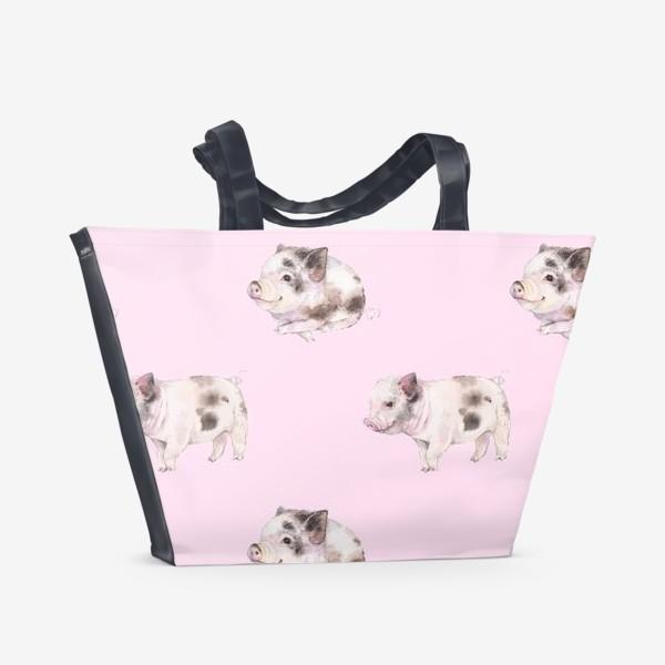 Пляжная сумка «хрюши розовые»