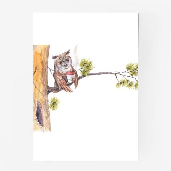 Постер «совушка с кофе на дереве»