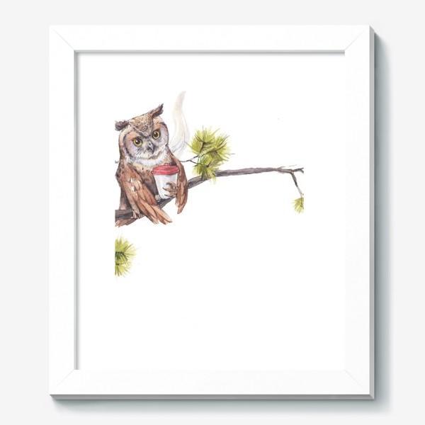 Картина «совушка с кофе на дереве»