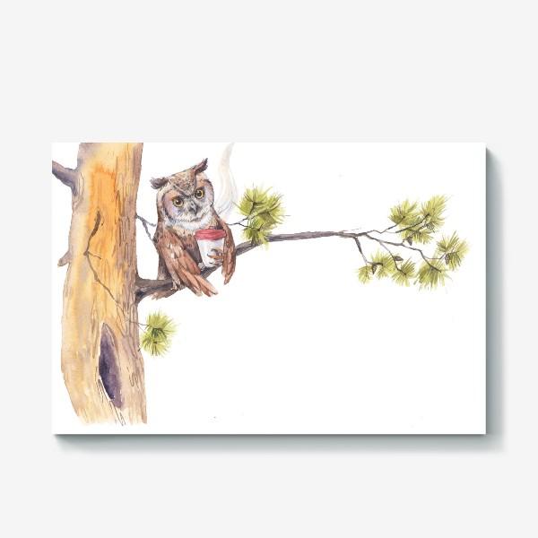 Холст «совушка с кофе на дереве»
