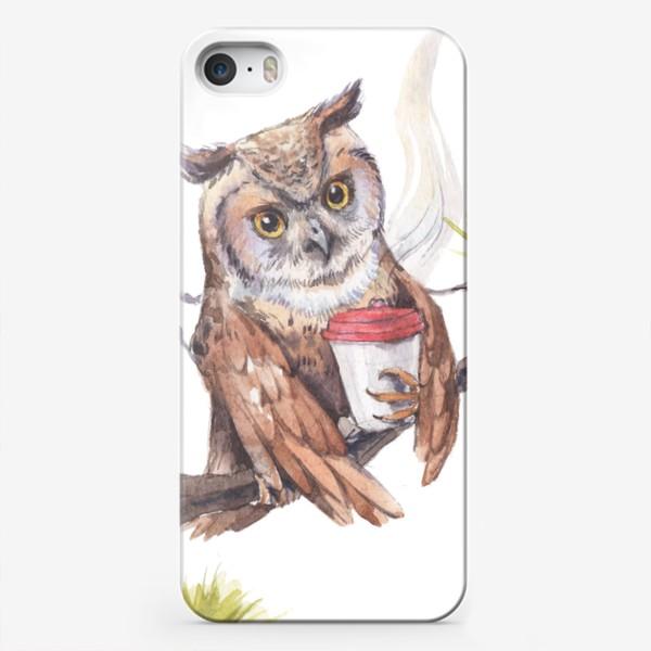 Чехол iPhone «совушка с кофе на дереве»