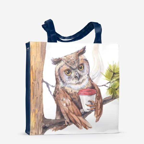 Сумка-шоппер «совушка с кофе на дереве»