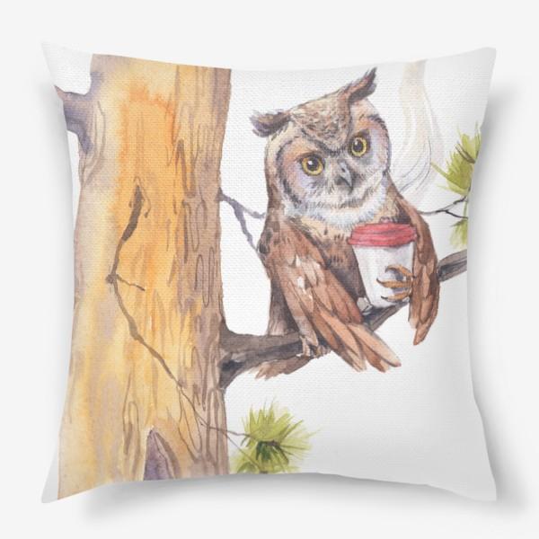 Подушка «совушка с кофе на дереве»