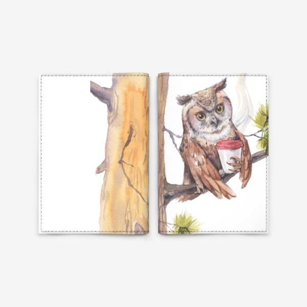 Обложка для паспорта «совушка с кофе на дереве»