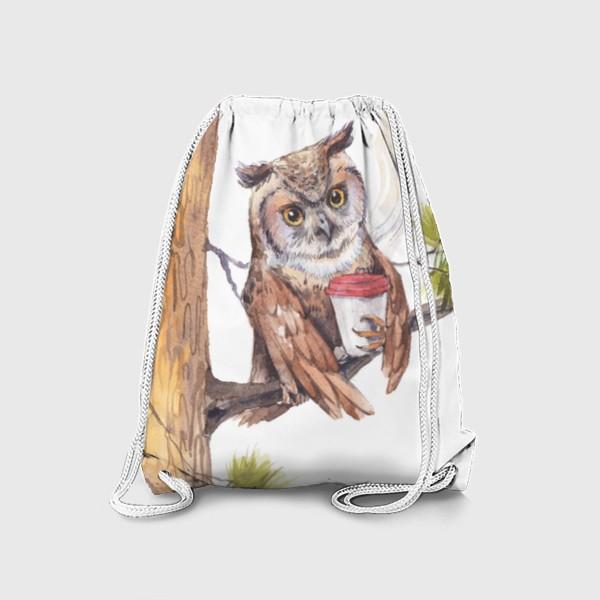 Рюкзак «совушка с кофе на дереве»