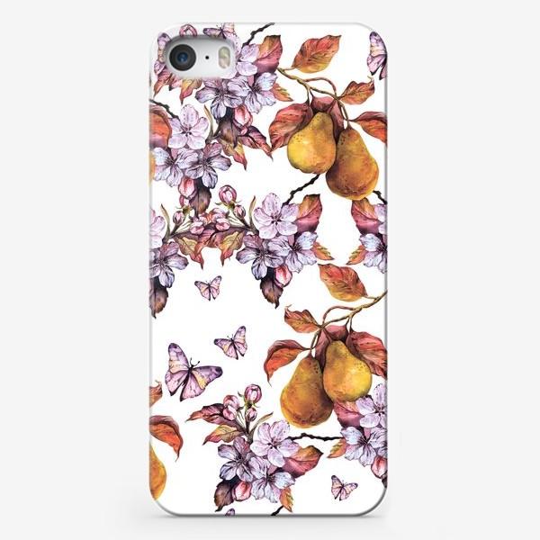 Чехол iPhone «Груша и бабочки\Pear and butterflies\Boho style\Бохо»